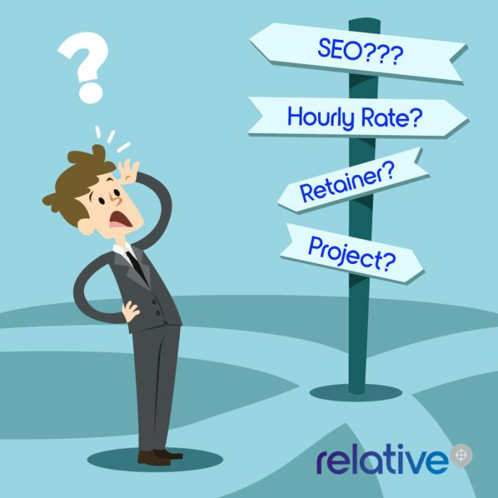 seo signpost graphic with man scratching head