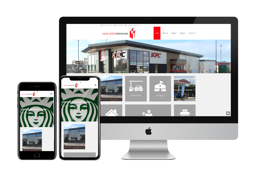 the walker design website displayed on various devices