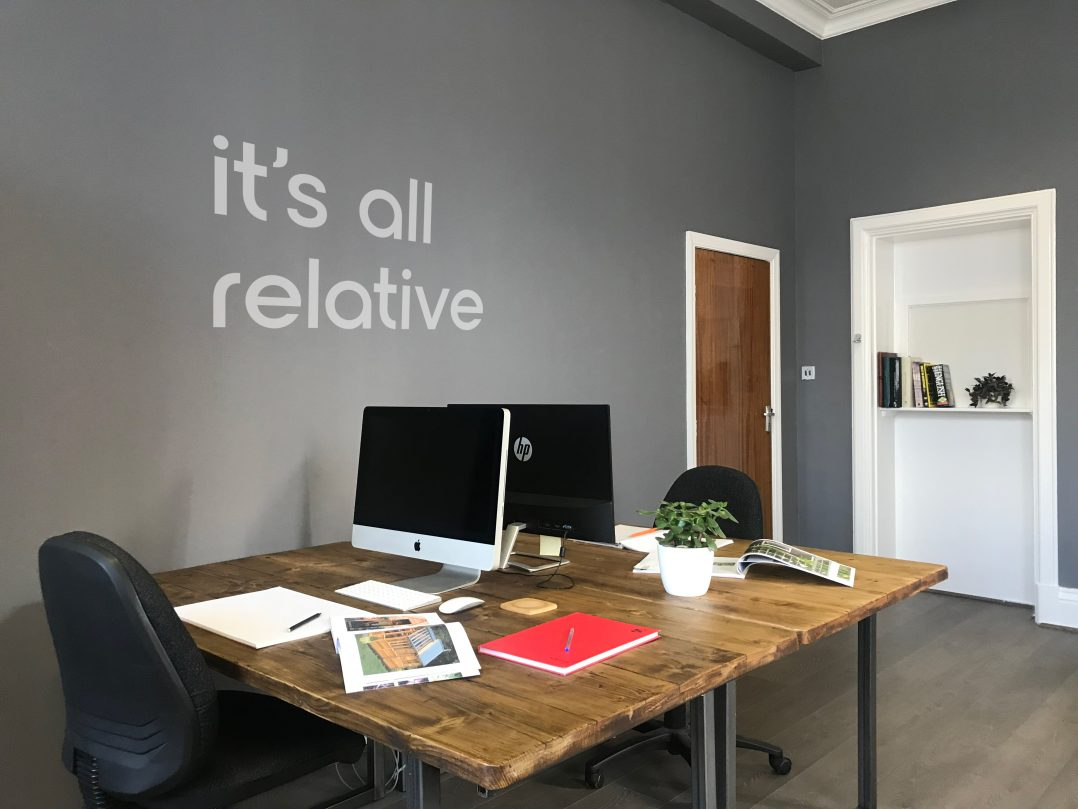the relative marketing office completed with workstations in place