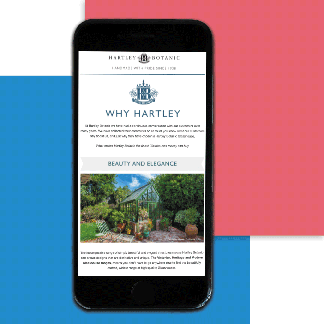 The Hartley Botanic website displayed on a mobile device
