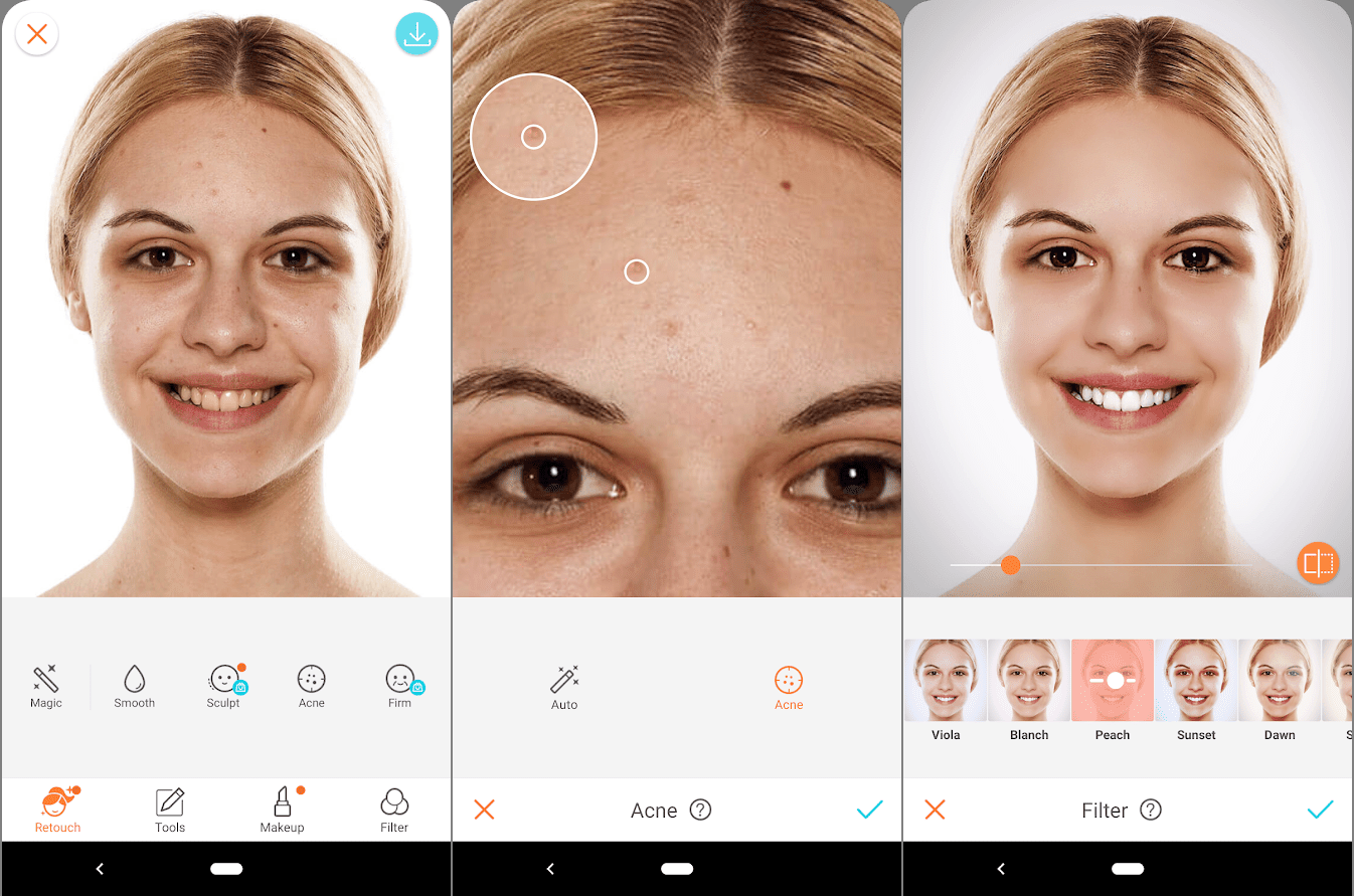 Instagram filters for social media, a step by step of a woman being airbrushed. boost your instagram account